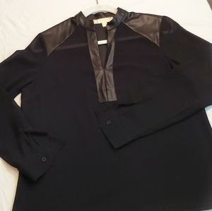 Women's black see thru faux leather blouse